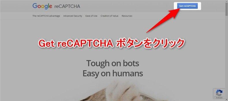 reCAPTCHA登録ページ